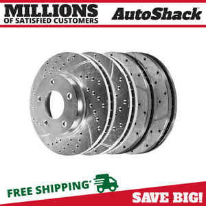 Front Rear Drilled Slotted Brake Rotors For 2005 2012 2013 Ford Mustang Silver