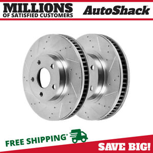 Front Performance Drilled Slotted Rotor Pair For 2005 2014 Ford Mustang Silver
