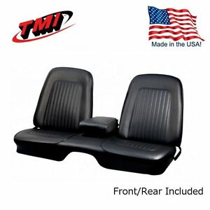 1967 1968 Camaro Coupe Front Rear Black Bench Seat Upholstery