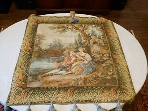 Antique Victorian Needlepoint Tapestry Art Embroidery Woman 36 5 X 36 5
