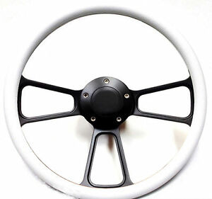 White On Powder coated Black Billet Steering Wheel Horn Ford Chevy Dodge More