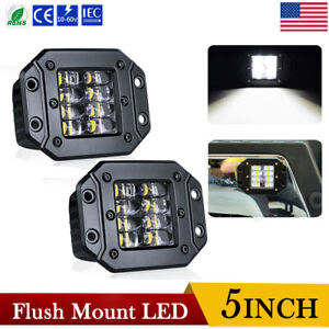 5inch 160w Flush Mount Quad Row Led Work Light Bar Combo Fog Driving Offroad 4wd