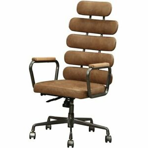 Acme Calan Leather High Back Adjustable Swivel Office Chair In Brown