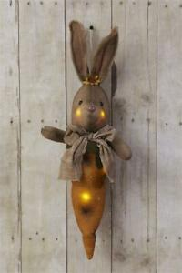 New Primitive Country Rustic Easter Rabbit Carrot Bunny Light Battery Timer