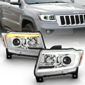 For 11 13 Jeep Grand Cherokee Led Swithback Turn Signal Projector Headlight Lamp