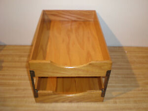 Vintage Wood Double Desk Tray Box Paper File Organizer Shelf