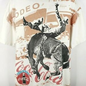 Coca Cola Rodeo T Shirt Vintage 90s Cowboy Bucking Horse All Over Print Size 2XL