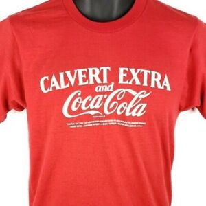 Calvert Extra Coca Cola T Shirt Vintage 80s Whiskey 50/50 Made In USA Medium