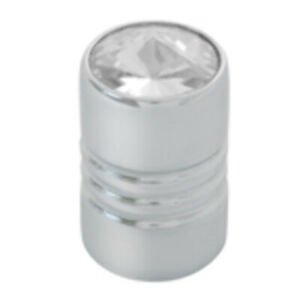 Valve Stem Cover Aluminum Chrome With Clear Jewel