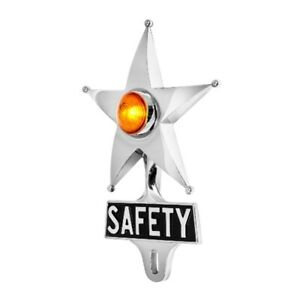Safety Star License Plate Topper Chrome W mini Moon Dual Function Amber Led