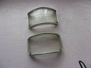 1947 1948 1949 Cadillac Glass Fog Parking Lights Lenses With Bezels