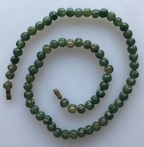 Lovely Antique Jade Beads Necklace Strand Hand Carved 18