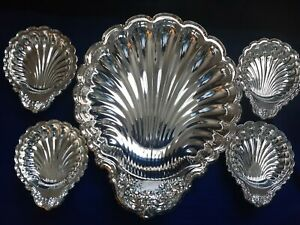 Vintage Leonard Silver Plated Clam Shell 5 Pc Serving Dish Set Clamshell Shape