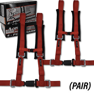 Polaris Rzr Canam X3 pair 4 Point Harness Red All Years