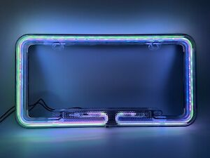 12v Car Multi Color Neon Vintage Style Lighted License Plate Frame Cover New