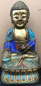 Old Antique Chinese Bronze Enamel Buddha Statue