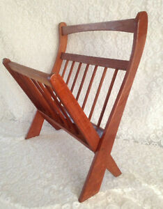 Vintage Mid Century Danish Modern Teak Wood Folding Magazine Rack