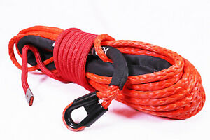 Synthetic Winch Rope Line Cable Orange 7 16 X 100 30000 Lb With Rock Guard