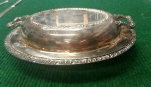 Vintage Henley Oneida Oval Silver Plated Serving Platter W Lid Cover Handles