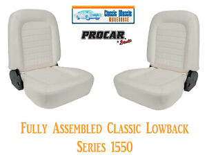 Classic Lowback Seats Procar 80 1550 53 White Vinyl Universal Bucket Seats Pair