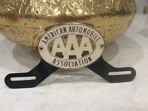 Vintage Triple Aaa American Automobile Association License Plate Topper Very Ni