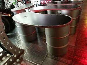 Tables Counter Desk Custom Fabricated From Steel Drums 4 Sets