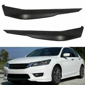 For 2013 2015 Honda Accord 4dr Hfp Style Black Pu Front Bumper Spoiler Lip 2pcs