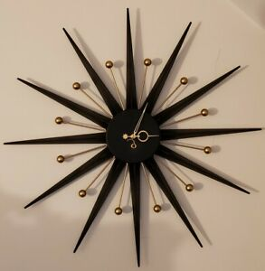 Vintage French Mid Century Modern Atomic Starburst Mechanical Wind Up Wall Clock