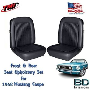 1968 Mustang Front Rear Seat Upholstery With Headrests Black Made By Tmi