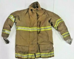 52x35 Globe Firefighter Brown Turnout Jacket Coat With Yellow Tape Gxtreme J769