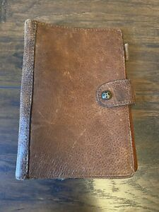 Vintage Brown Genuine Italian Leather Small Binder 6 Ring Planner Cover 9x6