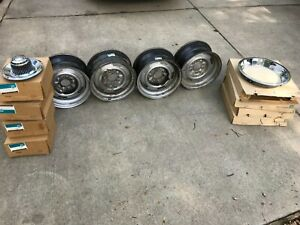Chevrolet 1969 Camaro Nova 14x7 Yj Rally Wheels Caps Rings Nos Gm