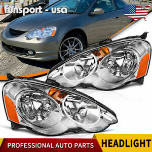 For 2002 2004 Acura Rsx Dc5 Headlights Assembly Pair Replacement Headlamp Chrome