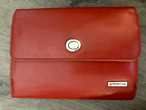 Franklin Covey Red Day Planner 6 Ring Zip Around Simulated Leather
