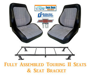 Dlx Houndstooth Touring Ii Fully Assembled Seats Brackets 1967 72 Chevy Trucks