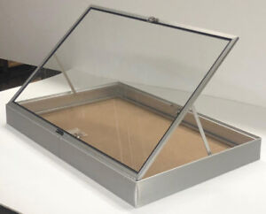Portable Aluminum Glass Jewelry Display Case Silver Showcase Lot Of Two