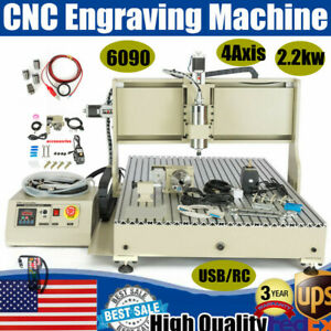 Usb 4 Axis 6090 Cnc 2 2kw Vfd Router Engraver Engraving Machine Mill Cutter Rc