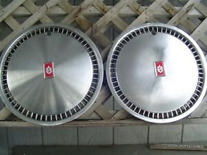Two Vintage Classic Oldsmobile 80 90 Jetstar Custom Cruiser Hubcaps Wheel Cover