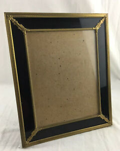 Vintage Brass Embossed Photo Table Frame 7x9 In 10x12 Out Reverse Paint Glass