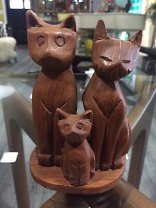 Vintage Mid Century Hand Carved Teak Wood Cat Sculpture Danish Art