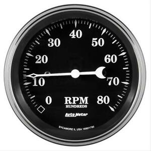 Autometer 1790 Gauge Tachometer 3 3 8 8k Rpm In dash Old Tyme Black