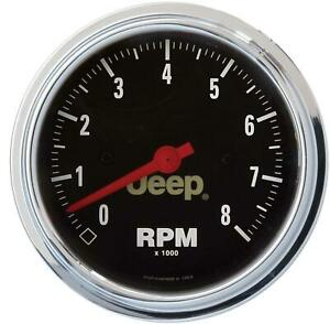 Auto Meter Tachometer Fits Jeep Logo 0 8000 Rpm 3 3 8 In Analog Electrical Each