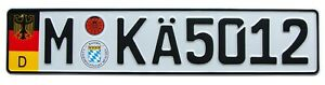 European Euro German License Plate With Random Numbers For Munich Germany