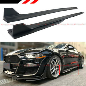 For 2015 2020 Ford Mustang Gt500 Style Texture Blk Side Skirt Extension Splitter