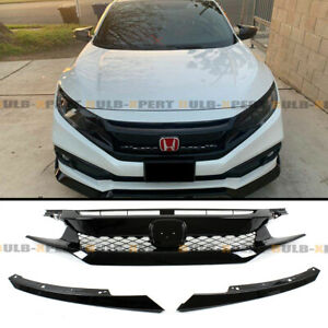 For 19 2020 Honda Civic Coupe Sedan Fk8 Type R Style Gloss Blk Mesh Front Grille