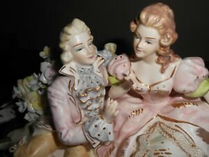 Lenwile Ardalt Couple Bisque Figurine Lighted Porcelain Lamp Music Box Rare
