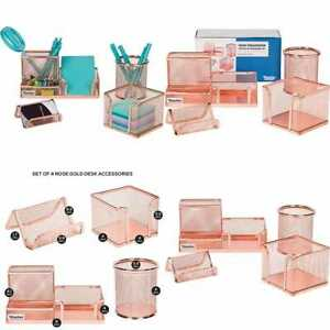 Desk Organizer Office Accessories Set Of 4 Rose Gold Mesh Includes Pen