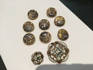 Antique Collection Of 10 French Enamel Champleve Cut Steel Buttons No Res