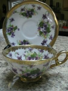 Tea Cup And Saucer Set Violets Victorian Shabby Chic
