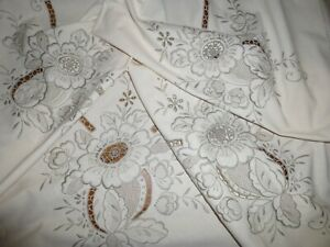 Vintage Madeira Embroidered Linen Tablecloth102 X 70 Needlework 6 Napkins
